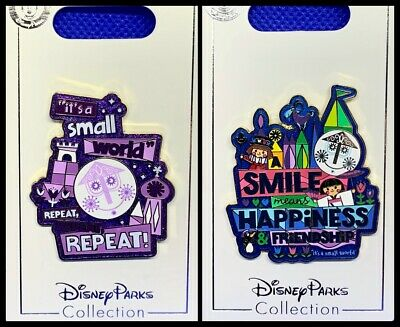 Disney Parks 2 Pin lot Small World Repeat + Smile means happiness ride - NEW