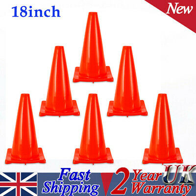 """6pcs 18"""" Traffic Safety Cone Non-Reflective Fluorescent Red PVC Road Security UK"""