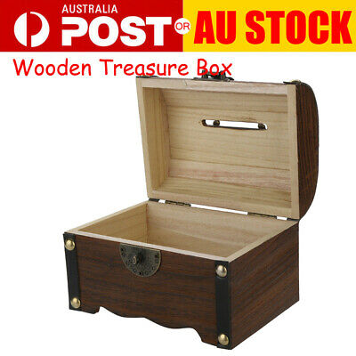 Wooden Treasure Box Piggy Bank Safe Handmade Wood Carving Money Box with Lock