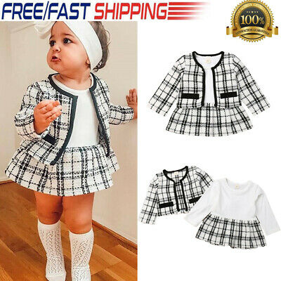 UK Newborn Baby Girls Plaid Clothes Coat Tops Tutu Skirt Outfits 2PCS Set