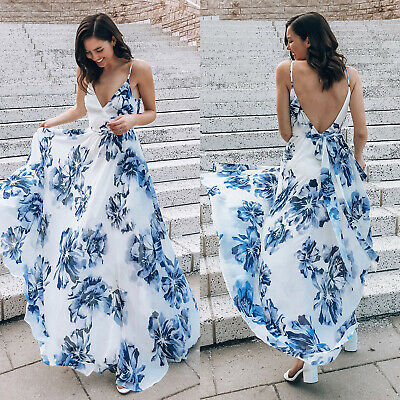 Women Boho V Neck Sleeveless Long Maxi Dress Summer Beach Party Strappy Sundress