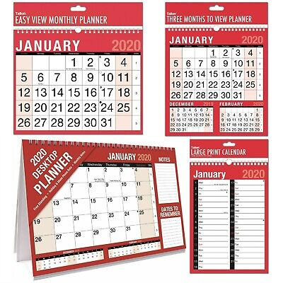2020 Wall Calendar Easy View, Large Print, Month to View Hanging Planner Office