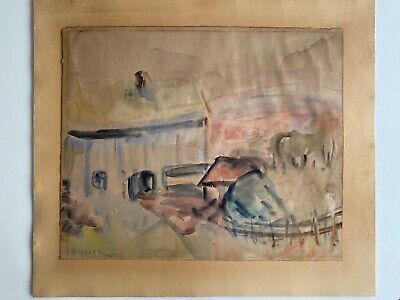Hans Haakø, Norway, Year 1929, Original Watercolor