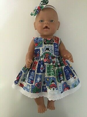 "DOLLS CLOTHES FOR 17"" BABY BORN~CABBAGE PATCH *Christmas~Snowman~Dress~Headband*"