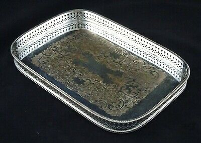 Small Vintage Chased Rectangle Pierced Serving Tray Cocktail Silver Plated