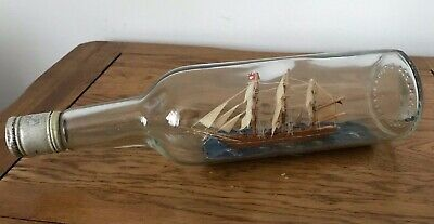 Rare Antique Hand Made Wooden Ship In A Bottle Mackenzie Scotch Whisky
