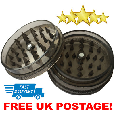No.1 Magnetic 60mm 3-Part Grinder Plastic Herb Shark Teeth Tobacco Storage Black