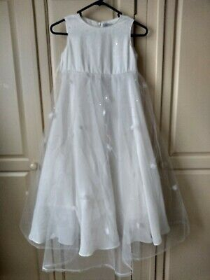 Maria Grachvogel Girls Special Occasion Ivory Sequin Long Dress - Age 7 Years