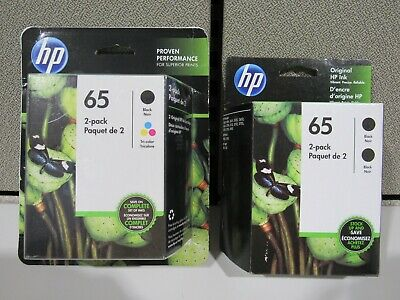 HP 65 Ink Black (2 pack) & Black & Color Combo Exp. 2021 FREE Shipping!
