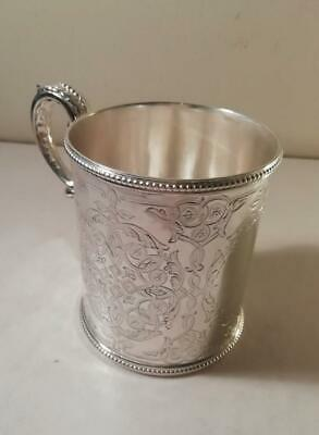 An Ornate Engraved Antique 'Martin Hall & Co' Silver Mug : Sheffield 1863