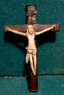 Antique 19th Cent HANDCARVED CHRIST & WOOD CROSS 4.33""