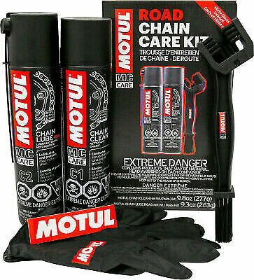 Motul Motorcycle Chain Care Kit - Contains Gloves Lube Clean Brush Road - 109767