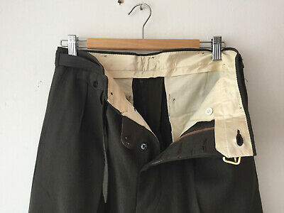 ORIGINAL VINTAGE BROWN/GREEN DEADSTOCK 1940S MEN'S BELT PANTS W32 x 31
