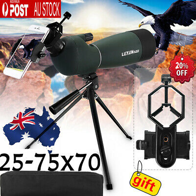 25-75X70 Waterproof Zoom Monocular BAK4 Spotting Scope With Tripod&Phone Adapter