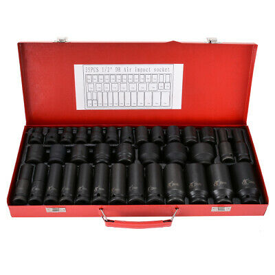 "35Pcs 8-32Mm 1/2"" Impact Socket Set Metric Imperial Drive Air Garage Deep Au"
