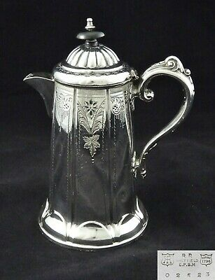 Vintage Water Claret Jug Floral Chased Detail Ornate Handle Silver Plated