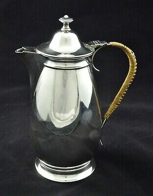 Vintage Medium Water Claret Jug Mirror Finish Ornate Reed Handle Silver Plated