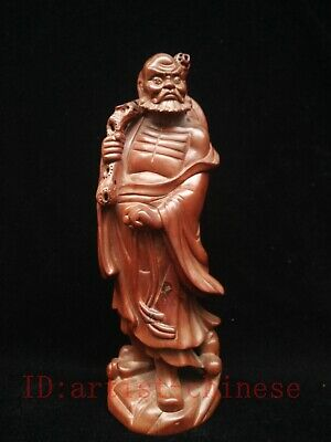 Collected Ancient China Boxwood Manual Carving Dharma Buddha Statue Decoration