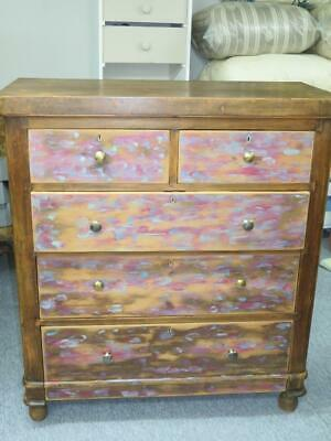 VINTAGE 5-DRAWER CHEST OF DRAWERS Restored in Mottled Rustic Pattern