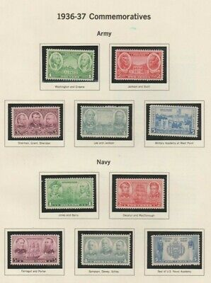 U.S. 1936-37 U.S. Army-Navy War Heroes #785-794, 10 stamps COMPLETE, mNH Good
