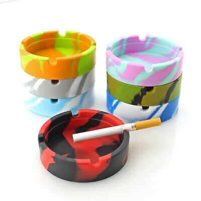 Rubber Round Glowing Ashtray Heat Insulation Portable Camouflage Container UK