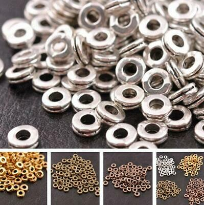 100Pcs Tibetan Silver DIY Beads Jewelry Making Metal Charms Round Spacer Beads