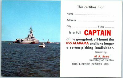 "190s U.S.S. ALABAMA Navy Comic Postcard ""CAPTAIN of the Gangplank"" Unused"