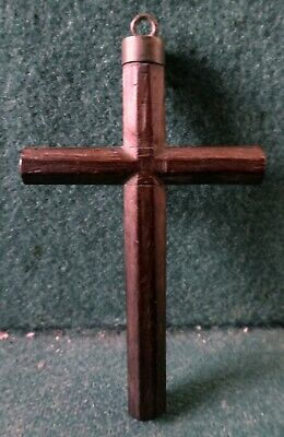 Antique 18th/19th Cent HANDCARVED PALISANDER WOOD PECTORAL CROSS 3""