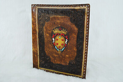 Vintage Faux Leather Old World Brown Etched Binder Cover
