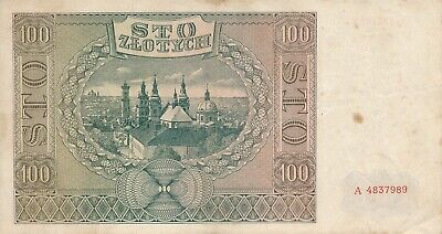 Currency Germany Poland 1941 WW2 Third Reich Occupation 100 Zloty Circulated