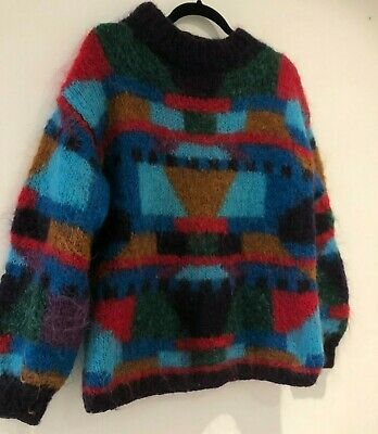 Vintage 80's One Size Blue Red Brown Abstract Mohair Chunky Slouchy Jumper
