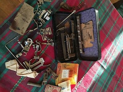 Vintage Greist Rotary Sewing Machine Attachments W/ Metal Box