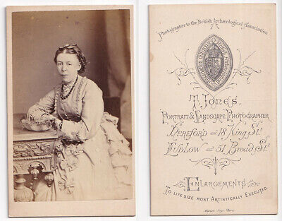 Victorian cdv Lady in Dress with Bows - T Jones of Hereford & Ludlow