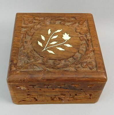 Vintage Hand Carved Wooden Double Hinged Trinket Jewelry Box w/ Inlay