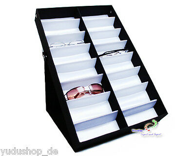 Glasses Case Display Case Glasses Stand for 16 Glasses Textile Fabric