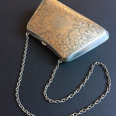 Antique Ladies Sterling Silver Bag Clutch Purse Coin Holder Chain Floral Motifs