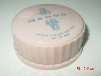 Vintage Margo by Elmo Face Powder EMPTY Used Pink Celluloid Hard Plastic Box