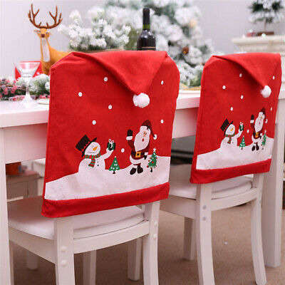Santa Claus Christmas Chairs Cover Cap Dinner Table Red Hat Back Decorations