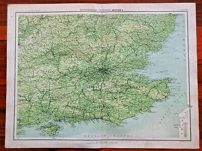 Victorian Colour Map of Geographical Features (c1896) Ordnance Survey, S England
