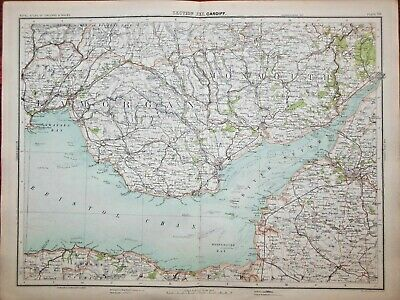 Victorian Colour Map of Cardiff (c1896) Ordnance Survey - Wales, Bristol Channel
