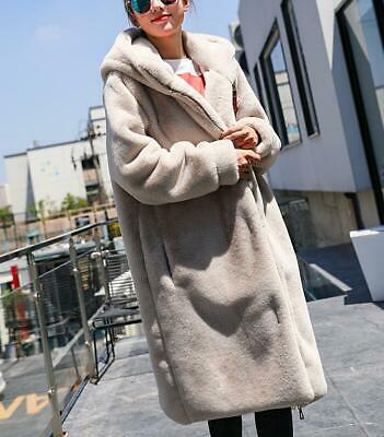 Winter Womens Lady Hooded Faux Rabbit Fur Coat Parka Fluffy Thicken Warm Casual