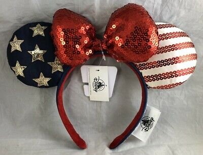 Disney Parks Minnie Mouse Ears Bow USA America Land That I Love Headband NEW