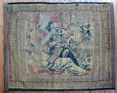 """16th - 17th CENTURY TAPESTRY FRAGMENT ANTIQUE 37 by 47"""""""