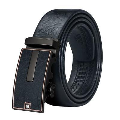 Black Leather Mens Belts Formal Automatic Buckles Dress Belts Waistband Large