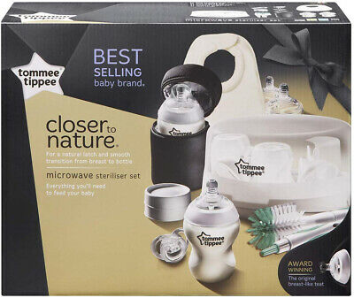 Baby Bottle Steriliser Kit Microwave Feeding Soother Bib Cleaning Tommee Tippee