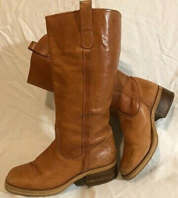 Dune Light Brown Mid Calf Leather Lovely Boots Size 38 (965vv)