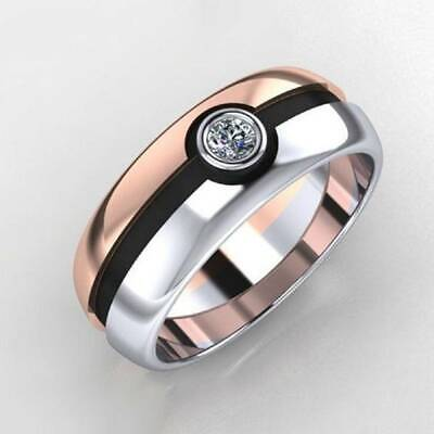 Two-color 925 Silver Rose Gold Filled Ring Pokemon Ball Diamond Rings Fans Gift
