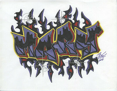 """2008 Graffiti Name Drawing """"MARY"""" Marker on Paper, Signed"""