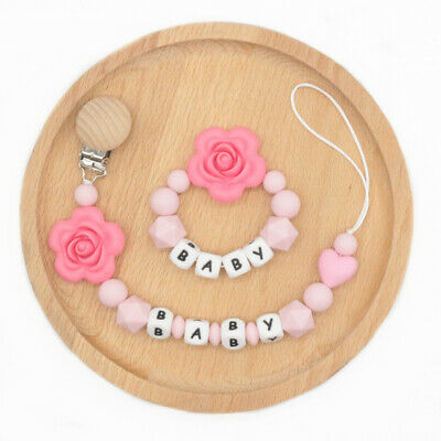 Flower Silicone Bead Personalized Name Baby Pacifier Chain Clip Teether Bracelet