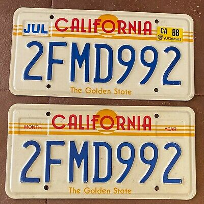 California 1988 SUN GRAPHIC License Plate PAIR - HIGH QUALITY # 2FMD992